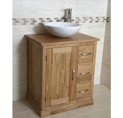 Prestige Oak And Marble Bathroom Vanity Unit Click Oak