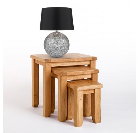 Westbury Rustic Oak Nest of Tables - CB-CB10