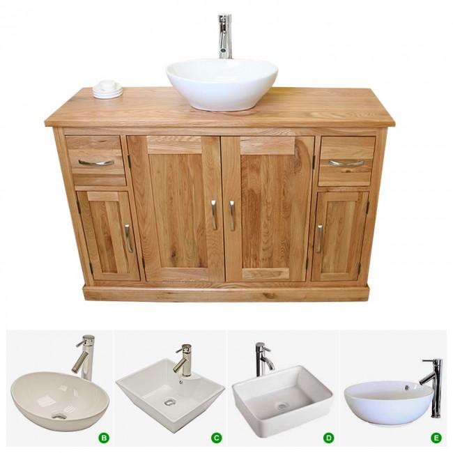 Prestige solid oak bathroom furniture vanity click oak - Oak bathroom sink vanity units ...