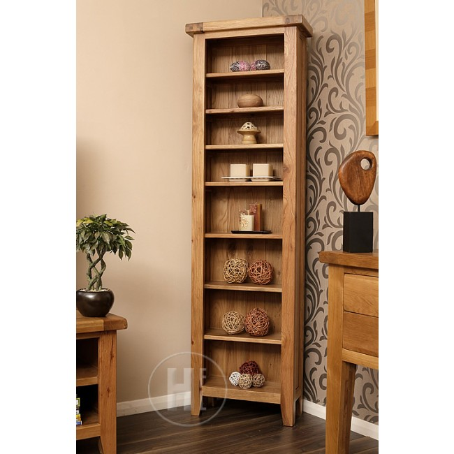 Vancoouver Rustic Oak Narrow Bookcase Click Oak