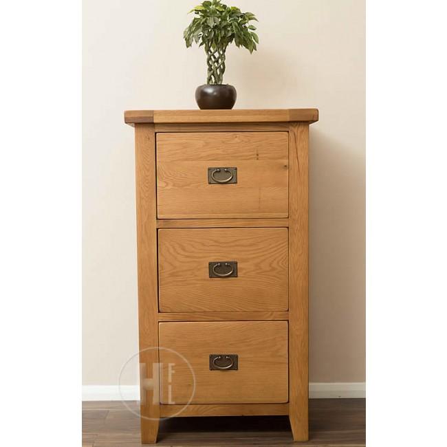 Vancoouver Rustic Oak 3 Drawer Filing Cabinet | Click Oak