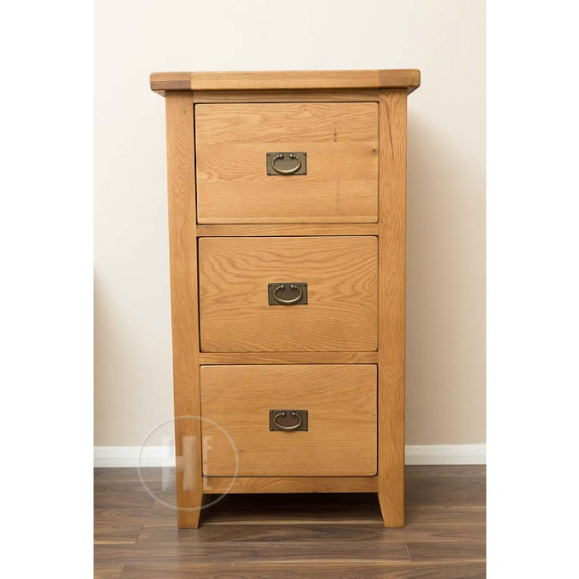 Vancoouver Rustic Oak 3 Drawer Filing Cabinet Click Oak