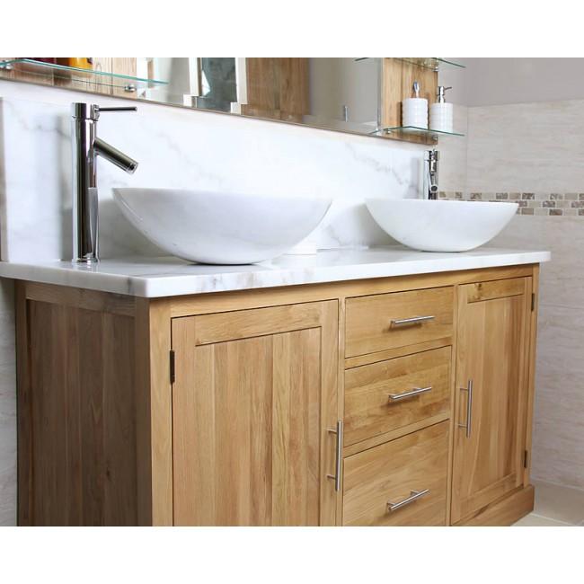 Atla Marble And Oak Bathroom Vanity Unit Click Oak