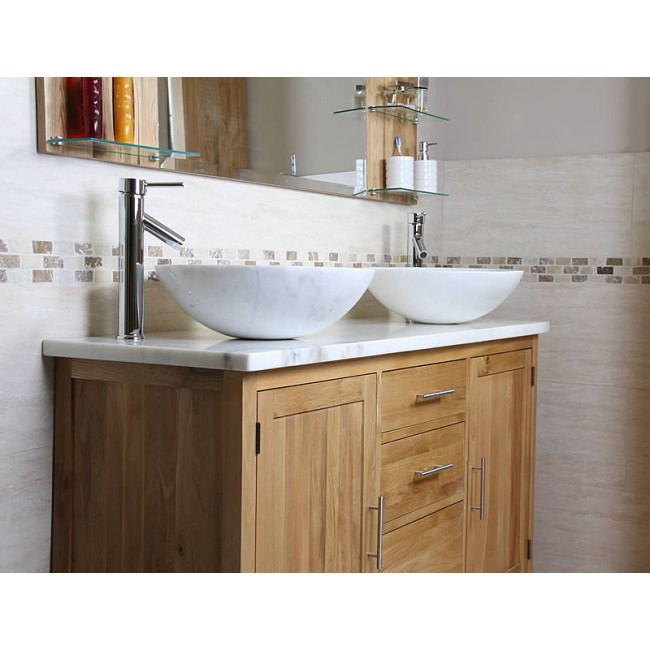 Atla Marble And Oak Bathroom Vanity Unit Click Oak