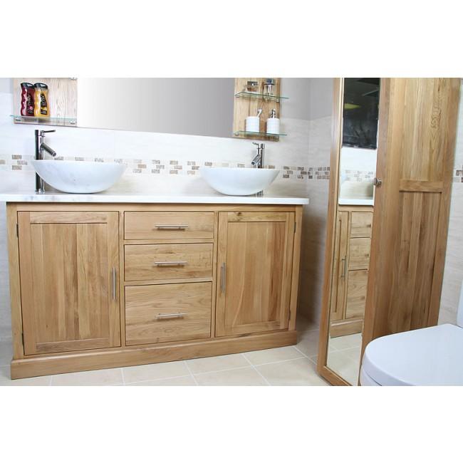 Atla marble and oak bathroom vanity unit click oak - Marble top bathroom vanity units ...