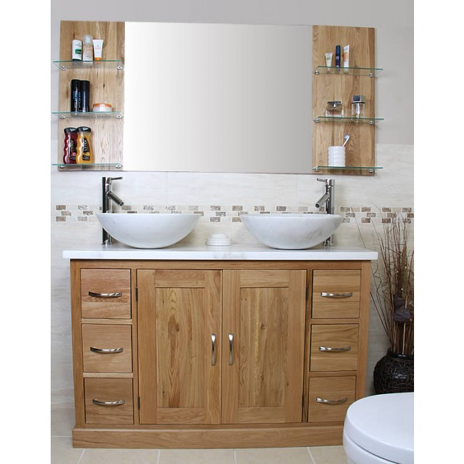 Atla solid oak and marble vanity unit click oak - Marble vanity units ...
