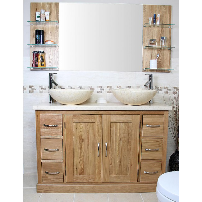 Atla Solid Oak And Marble Bathroom Vanity Unit Click Oak