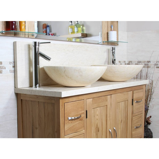 Atla solid oak and marble bathroom vanity unit click oak - Marble vanity units ...