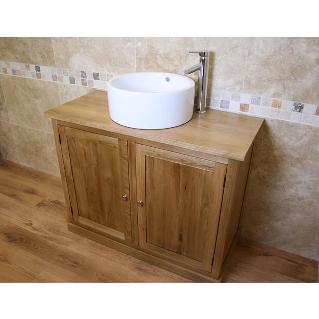 Atla Free Standing Oak Bathroom Vanity Unit Click Oak