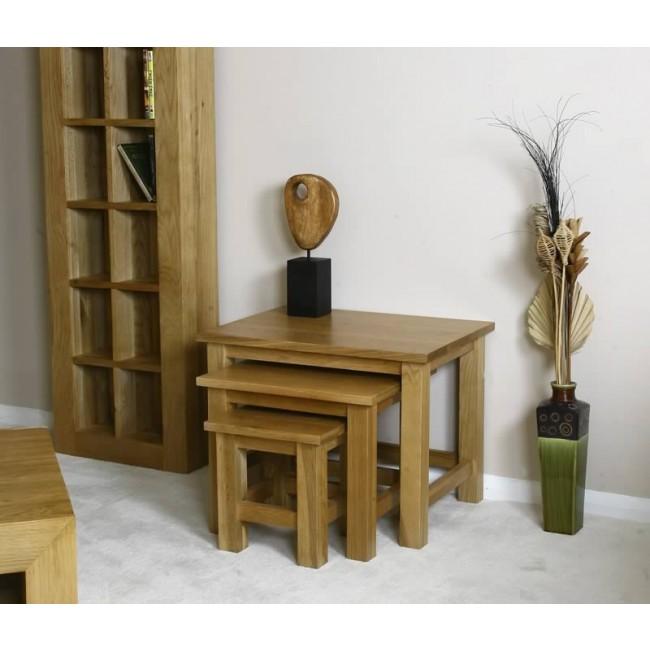 glenmore light oak nest of tables click oak. Black Bedroom Furniture Sets. Home Design Ideas
