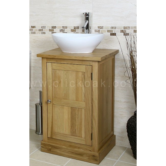 Solid Light Oak Bathroom Vanity Unit Cube Click Oak