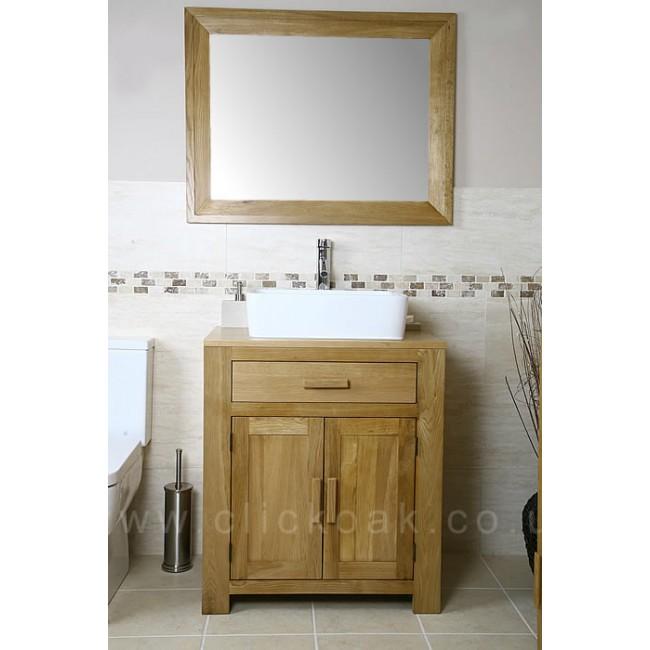 Atla Solid Light Oak Bathroom Vanity Unit Click Oak