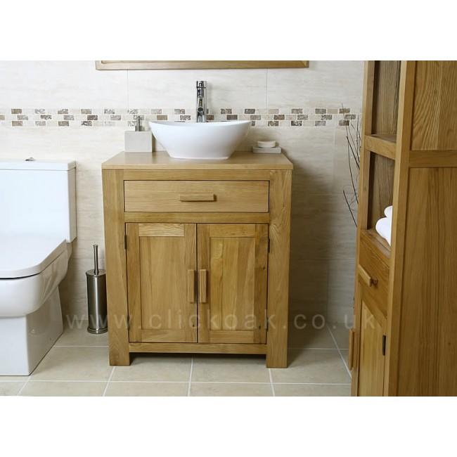 Atla solid light oak bathroom vanity unit click oak - Light oak bathroom vanity units ...