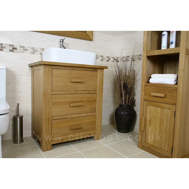 Atla solid light oak bathroom vanity click oak - Light oak bathroom vanity units ...