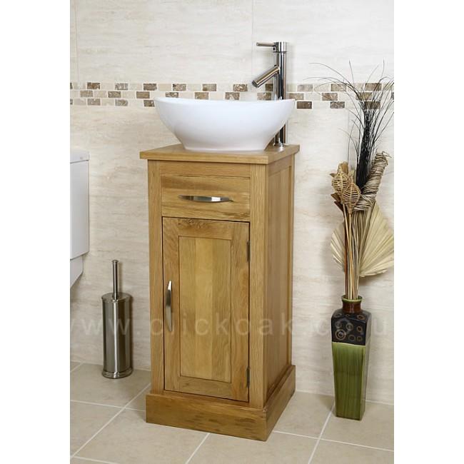 Atla Solid Oak Bathroom Vanity Unit Click Oak