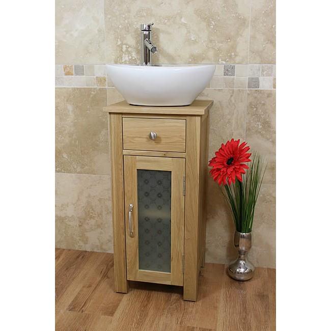 Small Oak Bathroom Vanity Sink Unit Set
