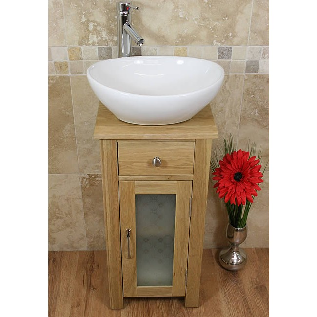 Small Oak Bathroom Vanity Sink Unit Set Click Oak