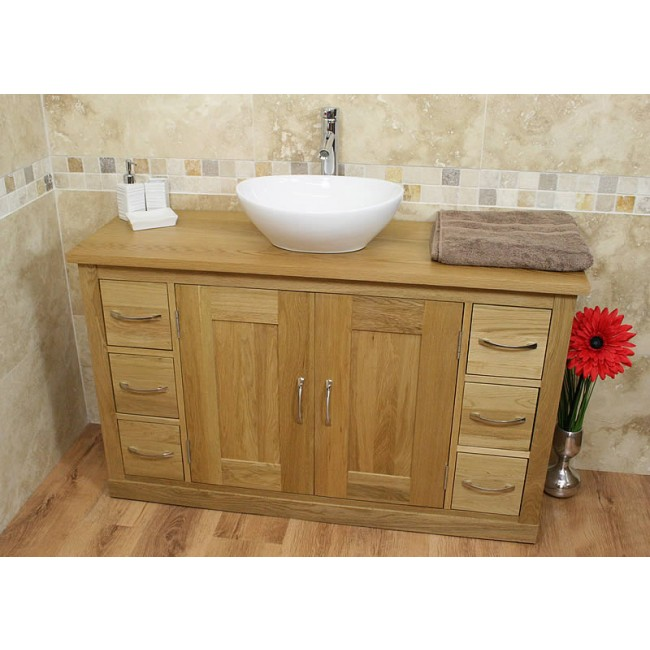 Oak Medium Bathroom Vanity Sink Unit Click Oak