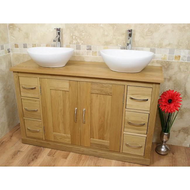 Mobel light oak twin bathroom vanity sink unit set click oak - Light oak bathroom vanity units ...