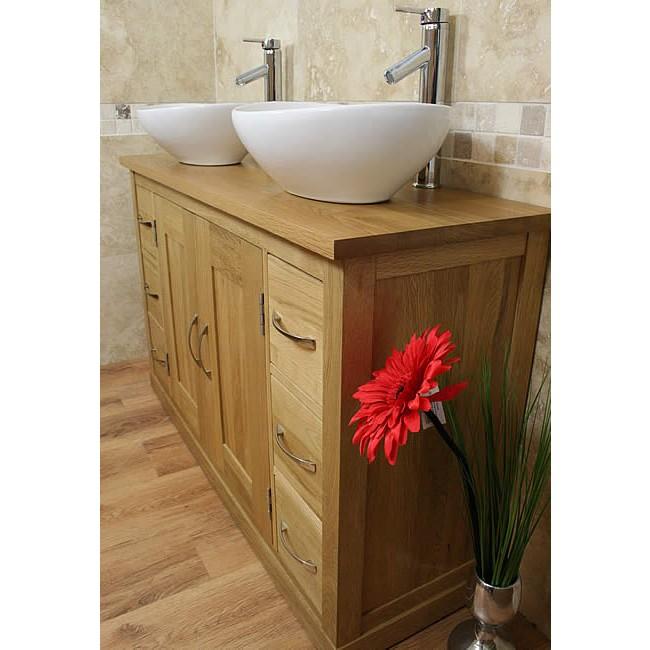 Mobel light oak twin bathroom vanity sink unit set click oak - Oak bathroom sink vanity units ...
