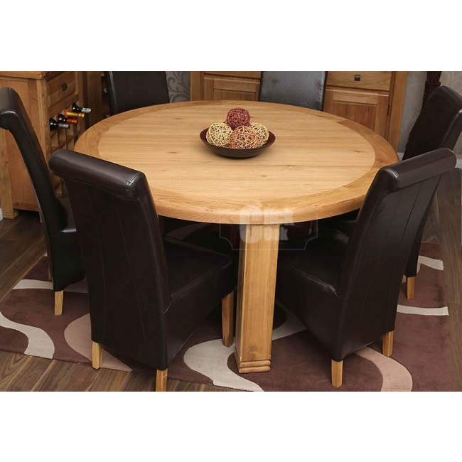 danube rustic oak round dining table and chairs set click oak. Black Bedroom Furniture Sets. Home Design Ideas
