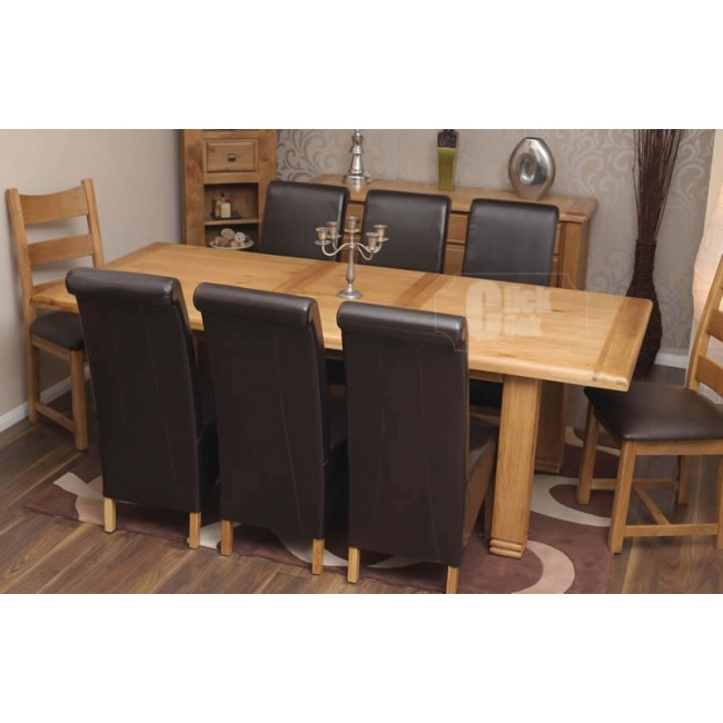 Danube Large Weathered Oak Extending Dining Table And 6