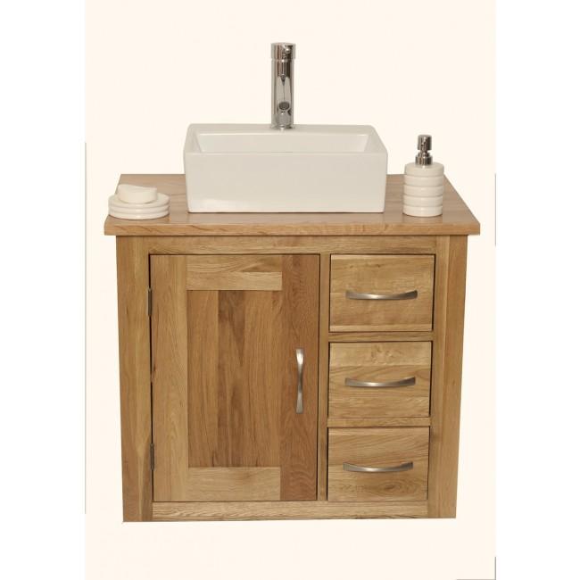 Wall Mounted Bathroom Vanity Unit Solid Oak Click Oak