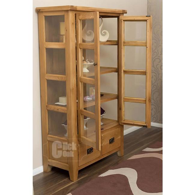 Vancoouver Rustic Oak Tall Display Cabinet Click Oak
