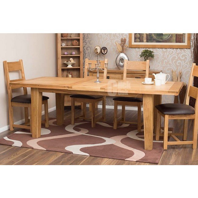 Rustic Oak Large Extending Dining Room Table And Chairs