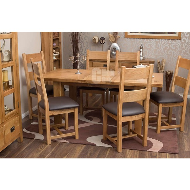 rustic oak extending dining room table and chairs click oak