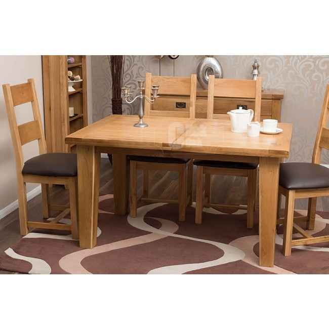 Rustic oak extending dining room table and chairs click oak for Rustic dining table and chairs