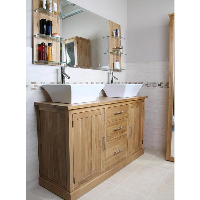 Atla large double bathroom vanity unit click oak - Oak bathroom sink vanity units ...