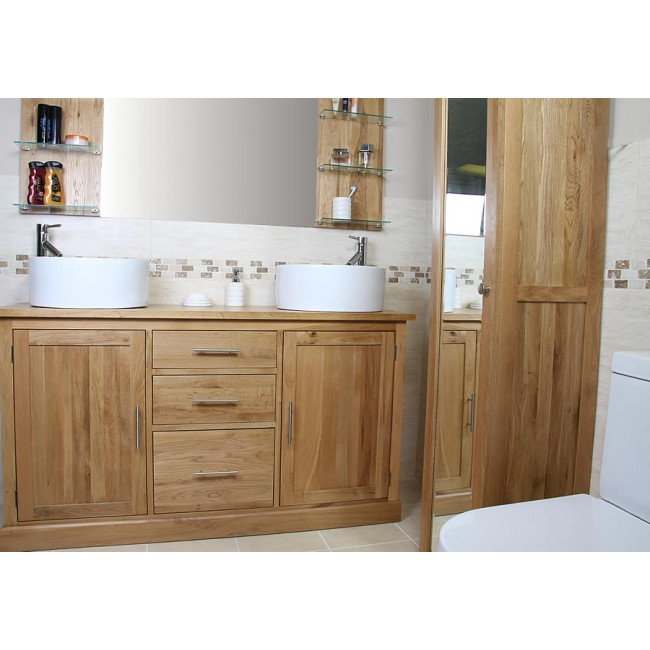 Atla large double bathroom vanity unit click oak for Large bathroom units