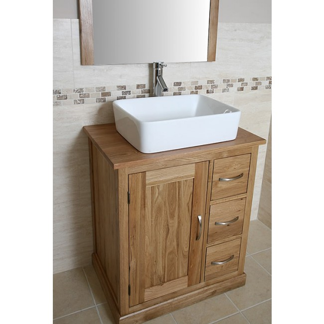 Atla Solid Oak Bathroom Vanity Unit With Storage Click Oak