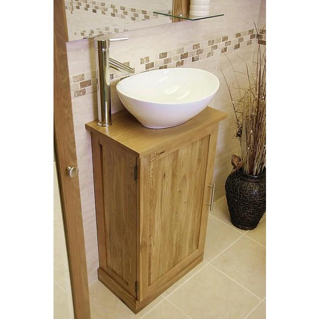 Atla slimline compact oak bathroom vanity unit click oak - Light oak bathroom vanity units ...