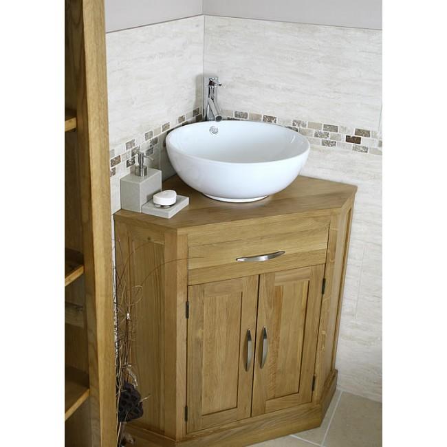 Cube solid oak corner bathroom vanity unit click oak - Bathroom corner sink unit ...