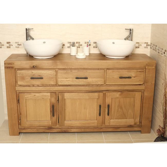 Milan Large Rustic Double Oak Bathroom Vanity Unit Click Oak