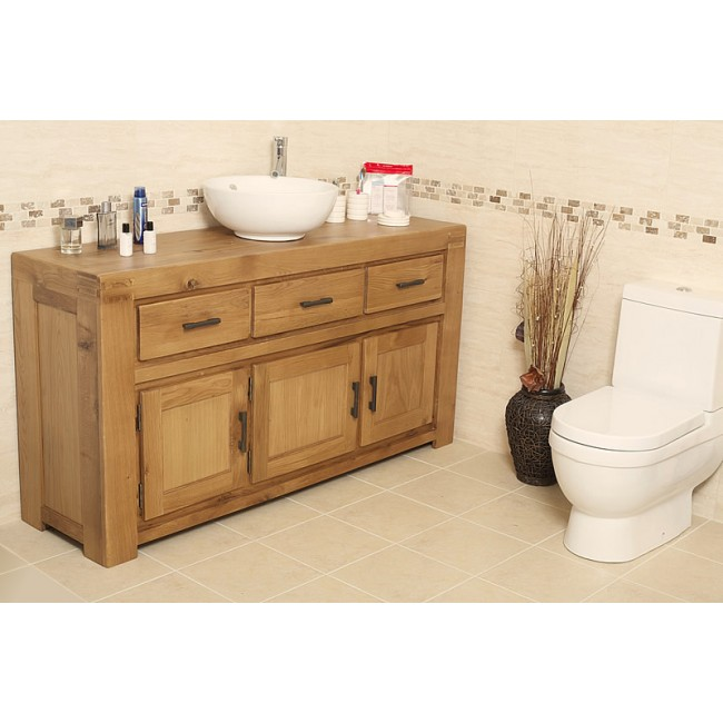Milan large rustic oak bathroom vanity unit click oak for Large bathroom units