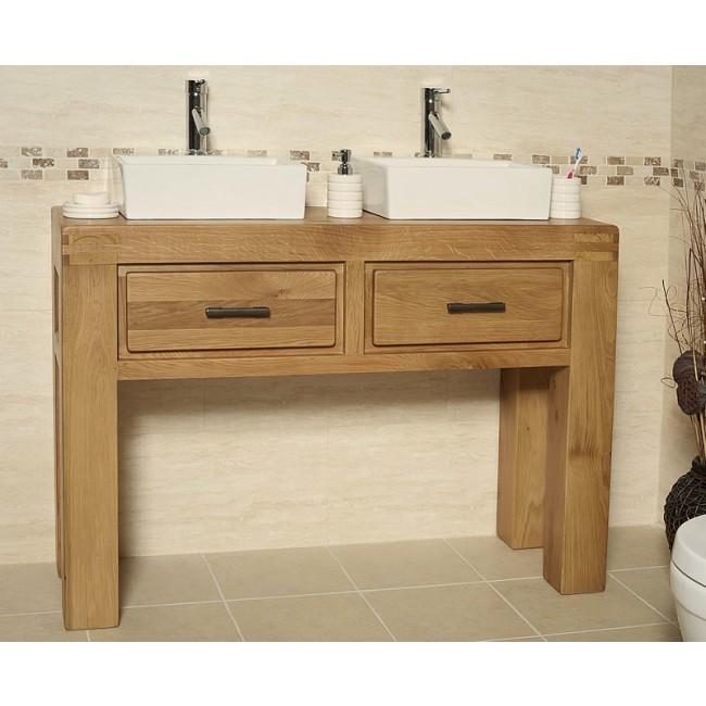 Milan Double Oak Free Standing Bathroom Vanity Unit Click Oak