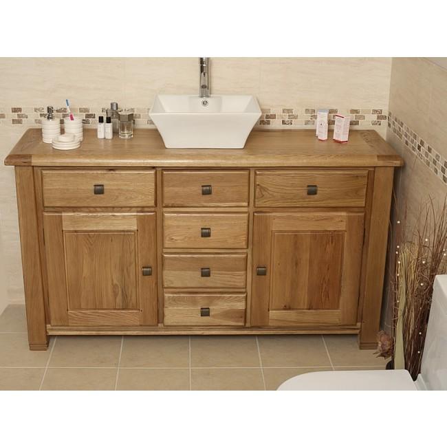 Ohio Large Rustic Oak Bathroom Vanity Unit Click Oak