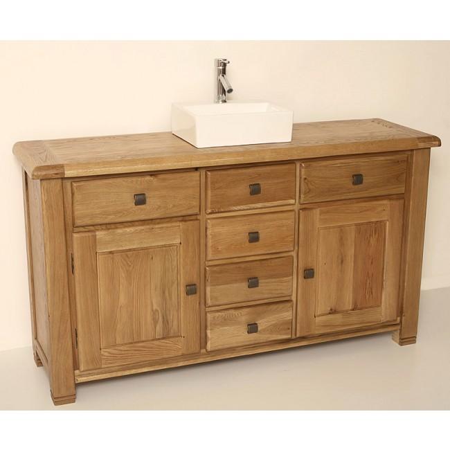 Ohio large rustic oak bathroom vanity unit click oak - Oak bathroom sink vanity units ...