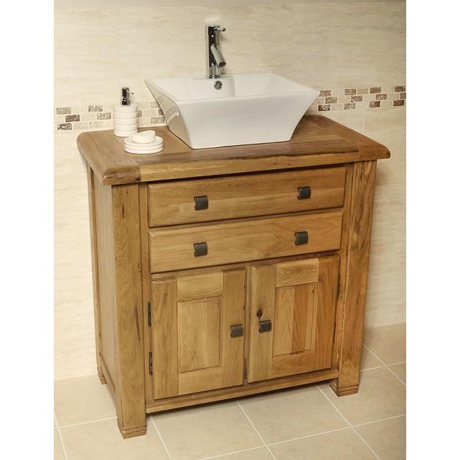 Ohio rustic oak bathroom cabinet vanity unit click oak - Oak bathroom sink vanity units ...