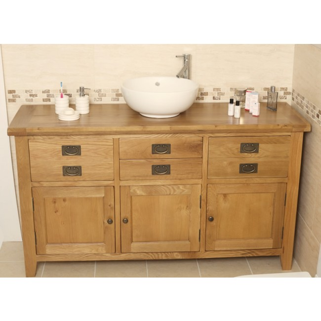 Valencia rustic oak large bathroom vanity unit click oak for Large bathroom units