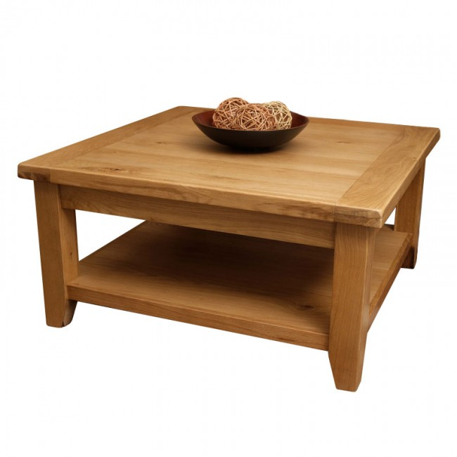 Vancoouver Rustic Oak Large Square Coffee Table Click Oak