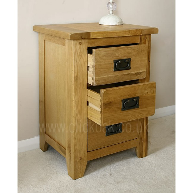 Westbury rustic oak bedside chest of drawers click