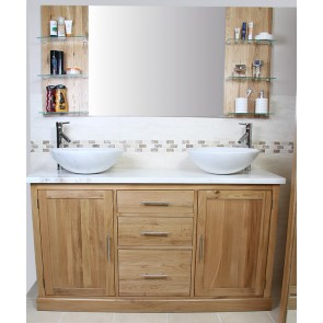 Oak Vanity Unit Set With Marble Top