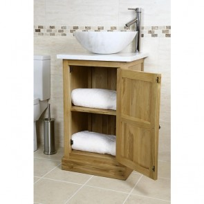 Atla Marble and Oak Bathroom Vanity Unit