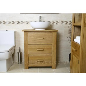 Solid Light Oak Bathroom Vanity Unit
