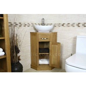Small Corner Oak Bathroom Vanity Unit