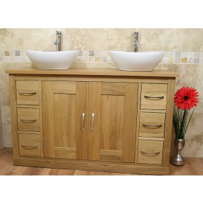 Solid Light Oak Mobel Vanity Unit